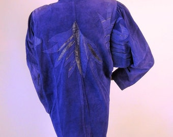 Extreme 80s Vintage Purple Suede Jacket Embellished Medium