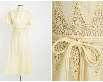 1940s vintage yellow cotton dress * pointed crochet insets around waist * plus size * 1940s vintage 5S921