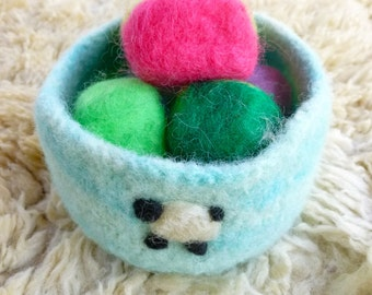 Felted soap in a felted wool bowl ready to ship