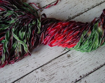 NeW Hand Dyed Ribbon POINSETTIA -  frosted edge ribbon, 5 yards