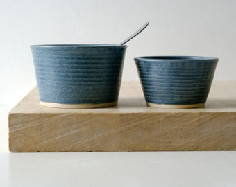Set of two snack bowls in smokey blue - hand thrown pottery dishes