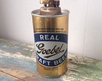 Vintage Goelbel Beer Can Cigarette Lighter, Barware Kitsch, Detroit