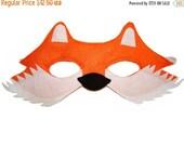 ON SALE Children's Woodland Animal FOX Felt Mask
