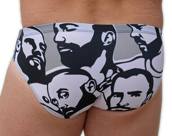Mens swimsuit designed by artist Chris Lopez,, limited stock, made in USA.
