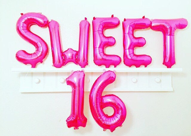 PINK Sweet 16 Balloons Number 16 Balloons 16th by girlygifts07