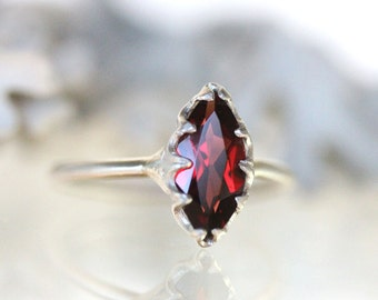 Genuine Marquise Red Garnet No Nickel Sterling Silver Ring, Gemstone RIng, Marquise Shape Ring, Eco Friendly Ring - Made To Order