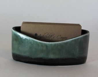 ceramic business card holder - gray and charcoal