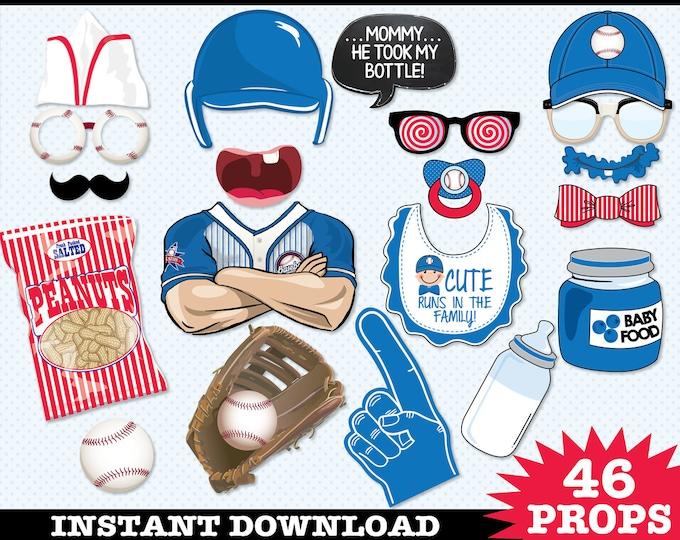 Baseball Baby Shower Photo Booth Props, Little Slugger, Retro Baseball, Baseball Birthday -  Instant Download PDF - 46 DIY Printable Props