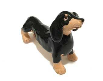 Dachshund Art, Doxie Cake Topper Keepsake, Dog Cake Topper Collectible, Hand-Built Dachshund Sculpture, Black and Tan Dachshund