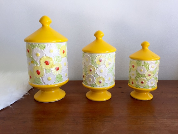 japanese floral pedestal canisters set of 3 porcelain