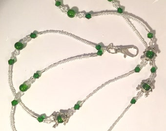 Silver-Plated Glass Beaded Frog Lanyard