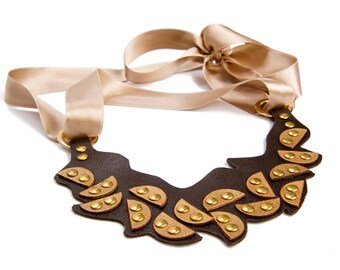 Statement Necklace, Leather Bib, Geometric Necklace, bronze leather Bib, Bronze choker necklace