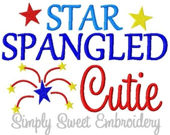 4th of July Star Spangled Cutie Machine Embroidery Design