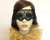 Black lace mask - Diamante masquerade veil - Venetian lace veil - Party mask - Circus costume - UK seller.