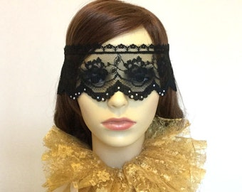 Black lace mask - Diamante masquerade veil - Venetian lace veil - Party mask - Circus costume - UK seller.