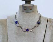 1920s art deco cobalt blue glass stone link necklace / 20s antique stylized silver necklace
