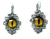 Dragon eye antique style silver tone flower earrings. Halloween earrings. Burning Man costume. Dangle earrings. Evil eye earrings.