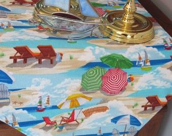 "Beach Table Runner 72"" Reversible Nautical Blue Table Runner Sea Shell Table Runner Seaside Table Runner Coastal Table Runner Beach House"