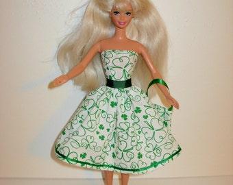 Handmade barbie clothes, CUTE St. Patrick's dress and bag 4 barbie doll