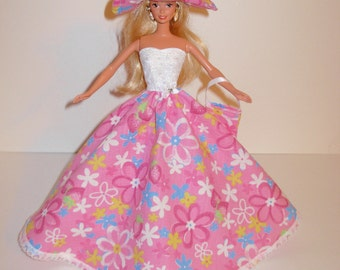 Handmade barbie clothes Beautiful gown with hat and bag 4 barbie doll