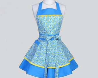 Ruffled Retro Aprons . Cute Full Kitchen Cooking Womans Apron in Blue and Yellow Vintage Style Daisies Womens Aprons Personalize or Monogram