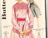 Vintage 1960 Butterick 2771 UNCUT Sewing Pattern Misses' Smocked Gingham Dress Size 12 Bust 32