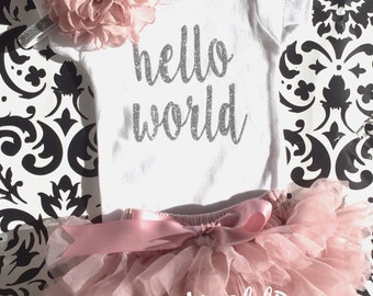 Baby Girl Take home outfit, Vintage Pink tutu Bloomer, Onesie and Headband set- Hello World, Newborn baby Girl Onesie, Personalized