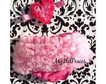 BLOOMERS and Headband set- Ruffle Bloomers. Bloomers. Baby Bloomers. Chiffon bloomers. Diaper Cover. Ready to ship. Valentines Set. Prop