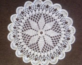 D-35(4). WHITE Doily MANDALA 32.5 cm white Crochet Round Doily Lace Doily crochet doily hand crocheted lace