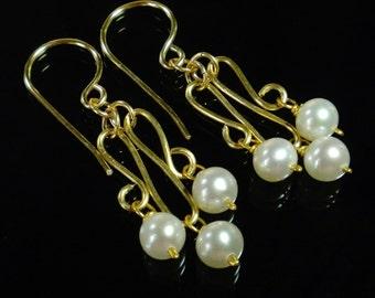 Pearl Chandelier Earrings, Dainty Earrings, Wedding Jewelry, Gold Filled