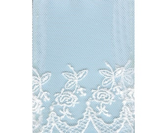 4 Inch Embroidered Rose Flat Net White by the Yard TRI12004
