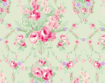 Emma's Garden  Cotton Fabric Clothworks Y1919-23 Light Olive Floral