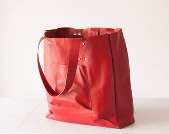 SALE 15% Red leather shopper bag, shoulder tote large bag women market tote - The Aella tote