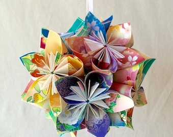 Floral Fantasy Origami Ornament~Christmas Tree Ornament~Christmas Decor~Origami Ball~Wedding Decor~Floral Decor~Paper Flowers~Flower Ball