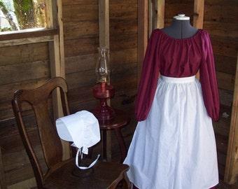 Prairie Pioneer Trek Renaissance Colonial Dress Costume bonnet dress apron