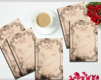 DIY Instant Digital Download Gothic Key note Paper Stationery