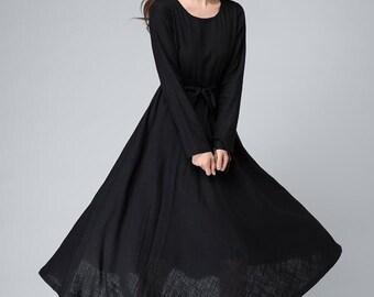 Black maxi dress, Black Dress ,Linen Dress ,Womens Dresses ,boat neck ,flare dress, Long Sleeves Dress, Long dress, Linen clothing,Gift 1493