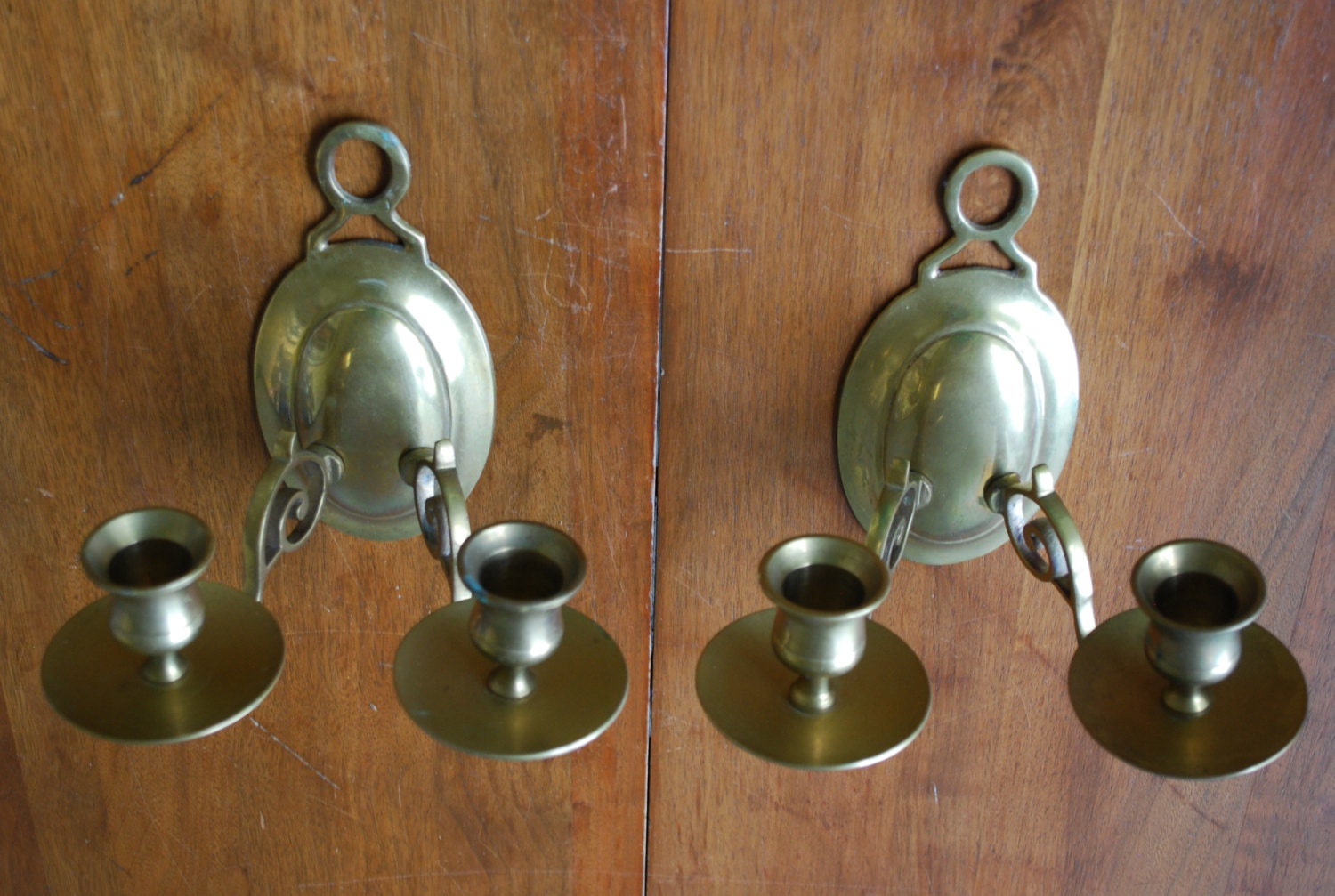 Solid Brass Wall Sconces : vintage pair of solid brass wall sconces by RetroVintagious