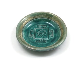 TIBETAN Yantra Divine Feminine Offering Bowl RAKU Pottery