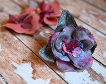 Purple succulent flower corsage, Fabric flower brooch