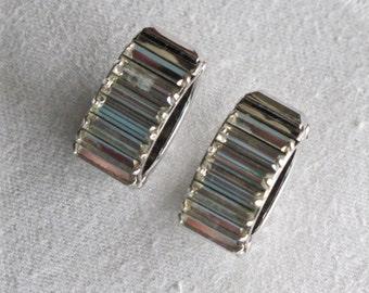 Unique 1960's Wide Rhinestone Baguette Hinged Hoop Earrings Sparkly Glittering Vintage