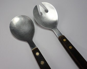 Stainless Steel and Wood Salad Fork and Spoon Set, Long Handles