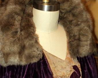 Antique Art Deco 1920's Velvet Opera Cape with Fur Collar Steel Cut Beading Dramatic Scarves Historical Cocoon Style