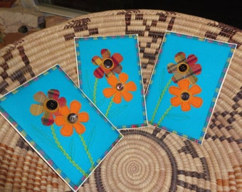 Fabric Post Cards - Summer Wild Flowers - Fabric Fiber Mail Art