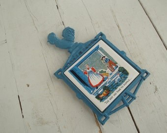 Vintage Cast Iron Trivet Blue Rooster