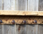 Seabiscuit Wood Collection - Reclaimed Rustic Shelf - Salvaged Wood from Historic Racetrack in New Hampshire- 40 Long 6 Spike Hooks