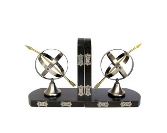 Vintage Sphere and Arrow Bookend Pair