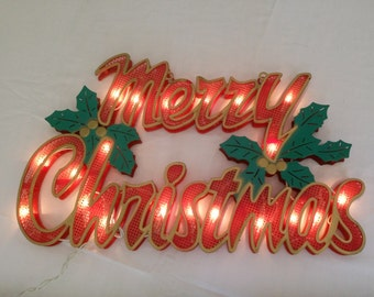 Vtg Red Green and Gold Plastic Two Side Lighted Christmas Window Wall Sign