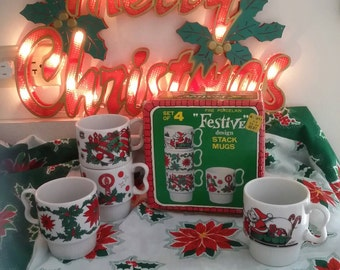 Vtg Kmart Kresge Porcelain Christmas Festive Stack Mug Set in Box