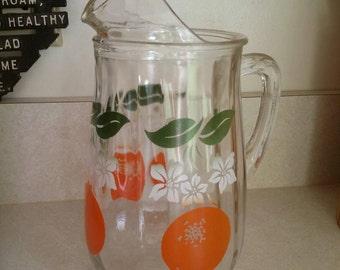 Bartlett Collins Orange Crush White Flower Ice Lip Glass Juice Pitcher